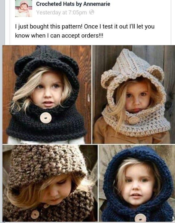 Crochet kids hat pattern. With ears