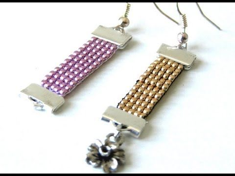 Beading tutorials - Earring using beading loom - YouTube