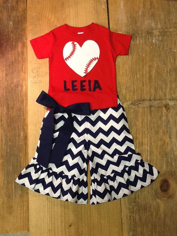 Girls Baseball Outfit. Ruffle Pants, Capris, or Shorts & Shirt Set. Name or Team Name. Any Number. Any Team Colors. By EverythingSorella by EverythingSorella on Etsy