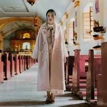 Jy003 новое поступление 2016 романтический элегантных женщин зимнее пальто розовый широкий длиной макси шерстяное пальто(China (Mainland))