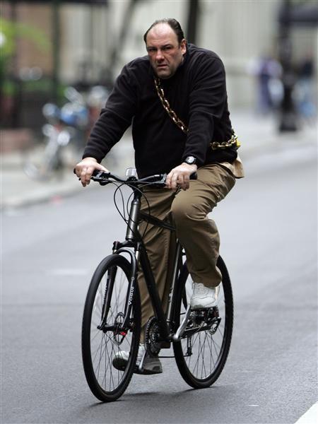James Gandolfini on a bike
