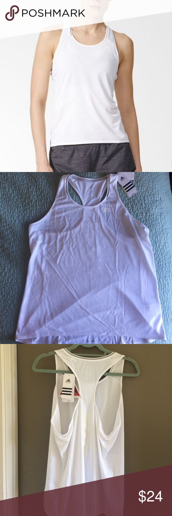 NWT Adidas Supernova White Tank Top, Size XL Brand new with tags! White Adidas supernova running tank top, size XL. Racer back style. Made with sweat wicking climalite fabric. Reflective stripes on back. Measures 20.5 in pit to pit. Adidas Tops Tank Tops