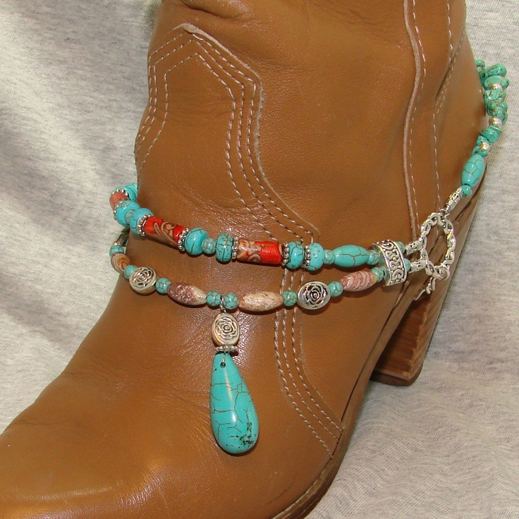 Turquoise Drop Beaded Boot Bracelet by FunkyFrogsCrafts on Etsy, $60.00