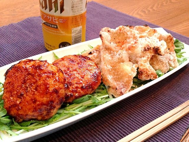 コーズ亭、今宵は鶏料理でカンパ〜イ - 76件のもぐもぐ - 鶏つくね照焼と鶏皮カリカリ焼 by fckoji1972