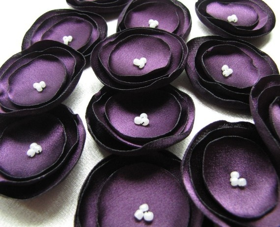 Eggplant ( Aubergine ) - ( Grape ) Satin Flowers (12pcs) $6.50