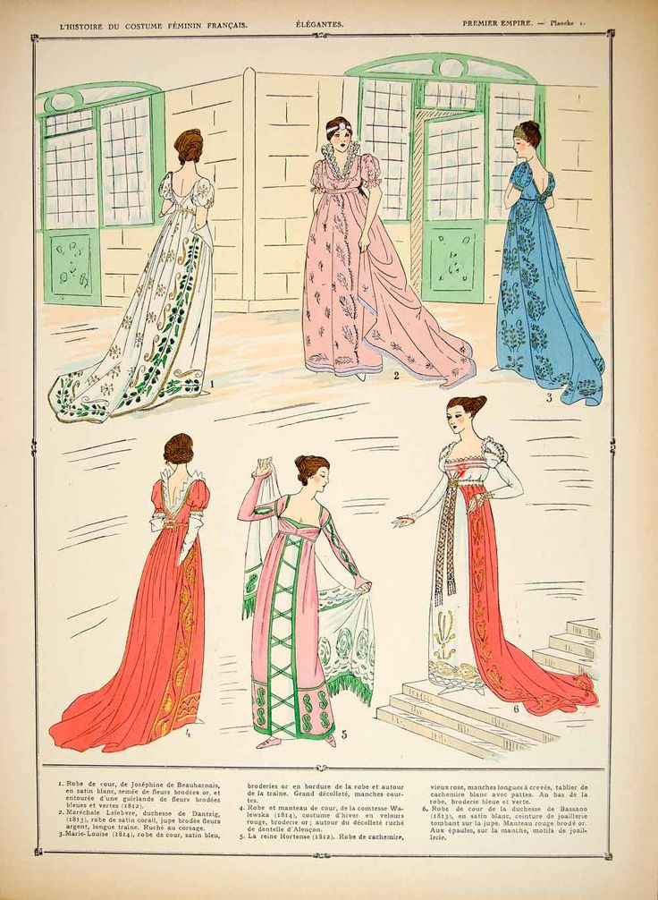 1922 Pochoir Print Costume Fashion Dress First French Empire Women Roy - Period Paper