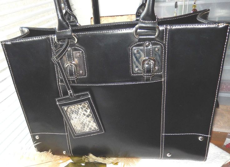 Wilsons Black Leather Briefcase Business Laptop Case