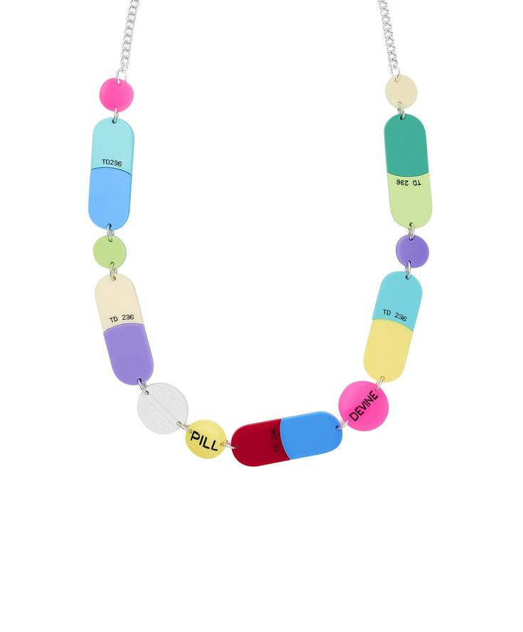 Pills Statement Necklace - Prescribe yourself dose of Tatty Devine with the Pills Statement Necklace. Alluding to the iconic film, Valley of the Dolls, oversized capsules and pills are laser cut in colourful acrylic and hand linked to a silver tone chain. This necklace is part of a numbered edition of 100 and comes with an exclusive certificate of authenticity.