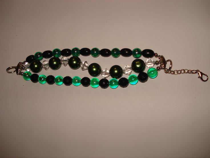 Tri-Strand Green & Black Bracelet