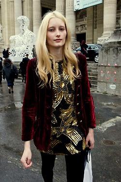 Great embellished glittery dress + red velvet jacket