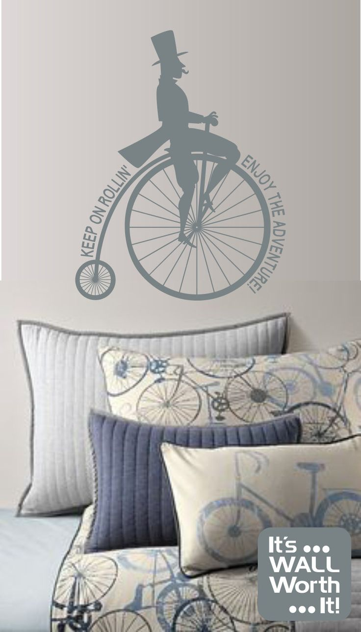 267 best it s wall worth it images on pinterest color charts old fashion bicycle with man saying vinyl wall decal teen s room retro wall sticker