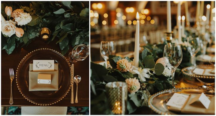 Harvest table with a gold beaded charger plate and taupe napkin. Elegant, lush table garland.