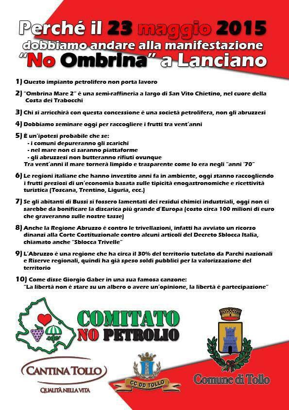 Decalogo per la Manifestazione No Ombrina a Tollo il 7 Maggio 2014.