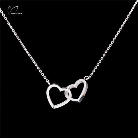 Stainless Steel Pendant Dainty Entwined Double Heart Necklace Couples Gold Silver Chain Statement Necklaces