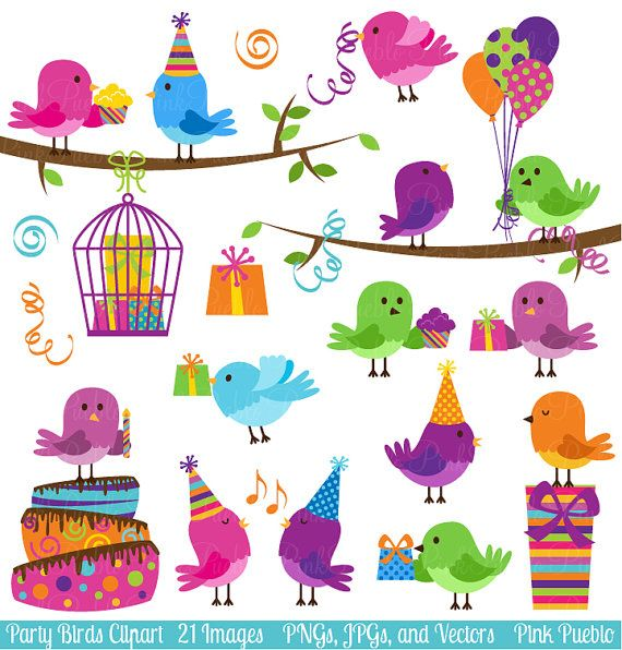 Party Birds Clipart Clip Art Birthday Party by PinkPueblo on Etsy, $6.00