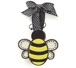 Ceramic Small Adornment Bumble Bee Christmas Ornament With Dotted Ribbon Holiday Decor Click Image