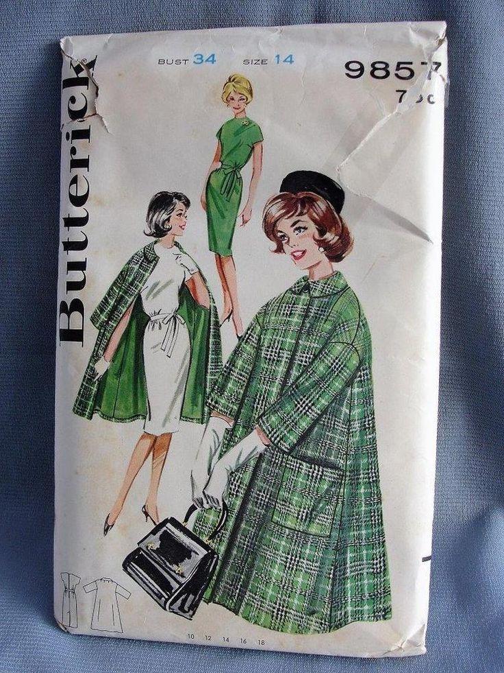 Vintage Butterick 1950's Women's Coat and Dress Pattern Sz 14/34 #9857