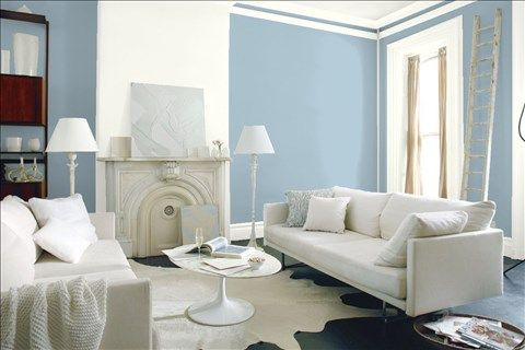 Look at the paint color combination I created with Benjamin Moore. Via @benjamin_moore. Wall: Serenata AF-535; Accent Wall: Simply White OC-117; Trim: Simply White OC-117.