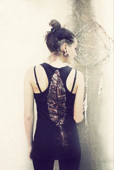 TRIBAL FEATHER TANK top  handpainted