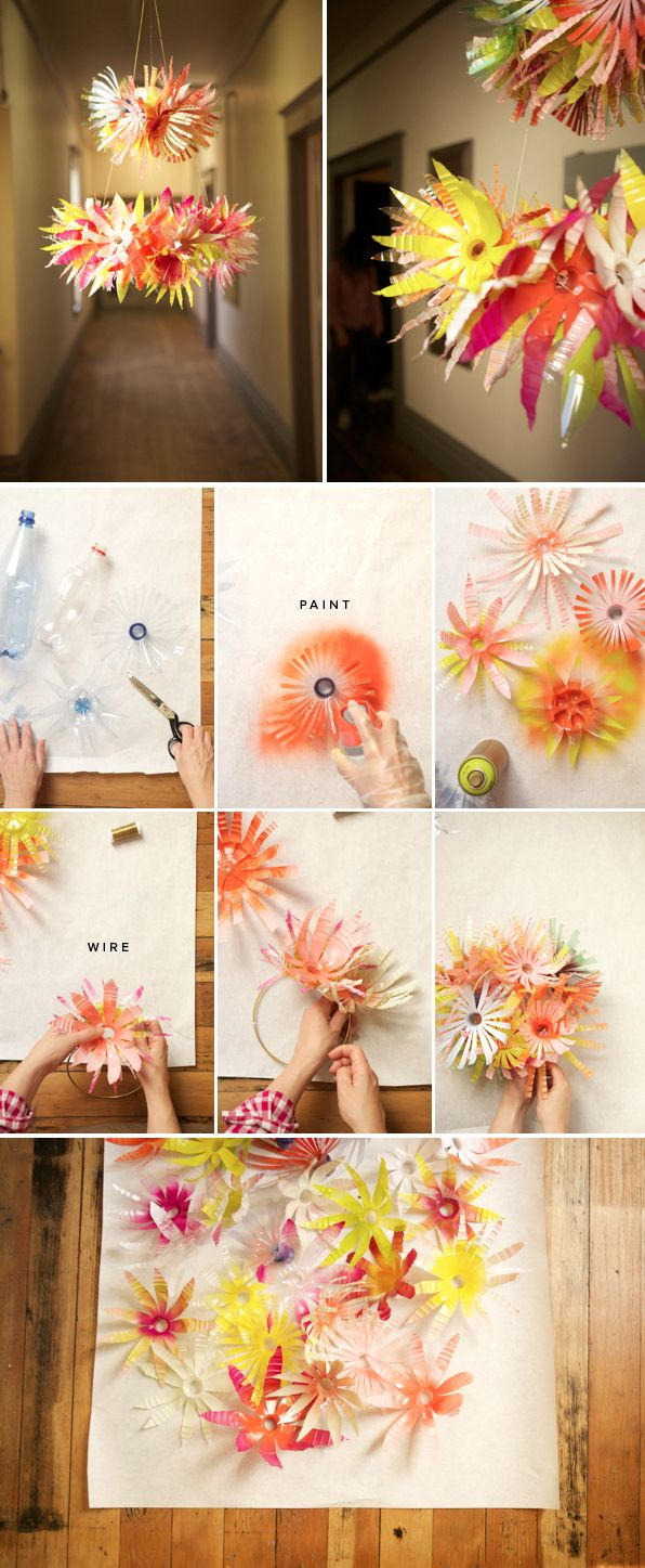 DIY Water bottle flower chandelier - tutorial from Oh Happy Day. This would be cute for the sunroom area, which has great lighting but no visual interest up high... Unless you count the vaulted ceiling. The important thing here is that it's cute.
