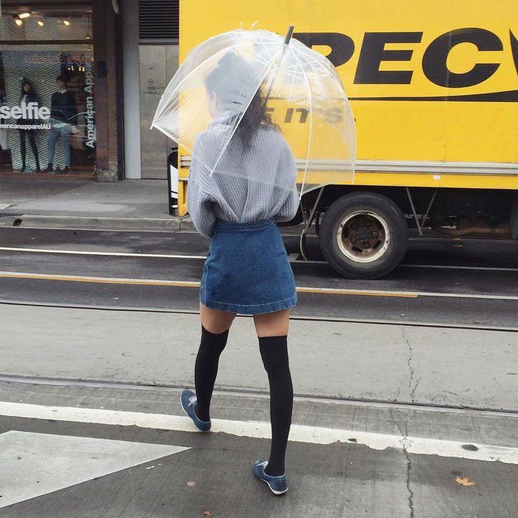 Rainy day essentials: The Bubble Umbrella! #AmericanApparel