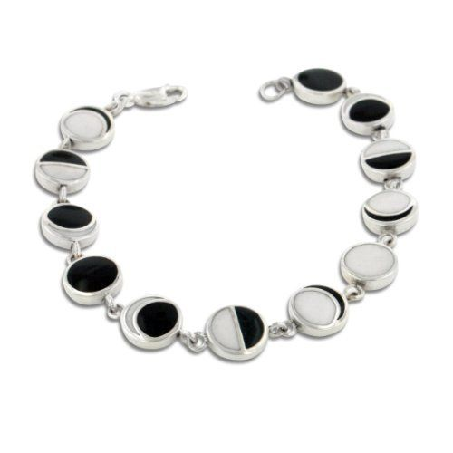 """Lunar Phases of the Moon Enameled Inlay Sterling Silver 7"""" Link Bracelet Silver Insanity. $99.97. Weight is 12.5 Grams. Lobster Claw Clasp. Black and White Enameled Moon Phases. Nickel Free Silver - Marked 925. 7"""" Long and 3/8"""" Wide"""
