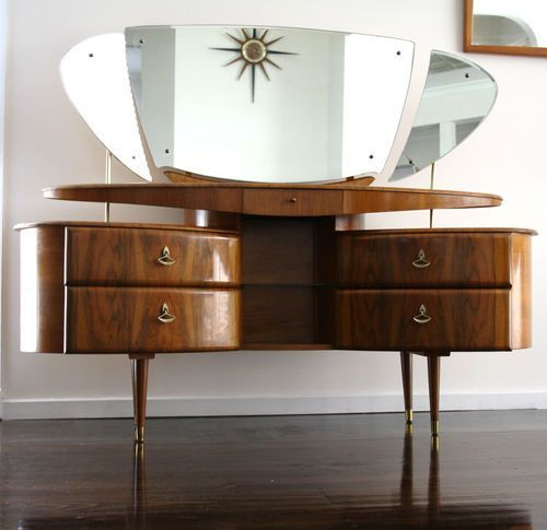 30 Cool Mid-Century Dressing Tables And Vanities : 30 Cool Mid Century Dressing Tables And Vanities With Unique Mirror Design And Classic Wo...