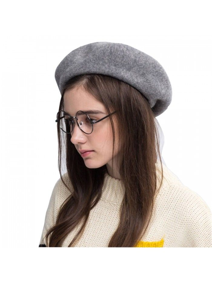 Women Wool Beret Hat French Style Solid Color - Dark Grey - CB188YRWG08 -  Hats   Caps 8412307651fc