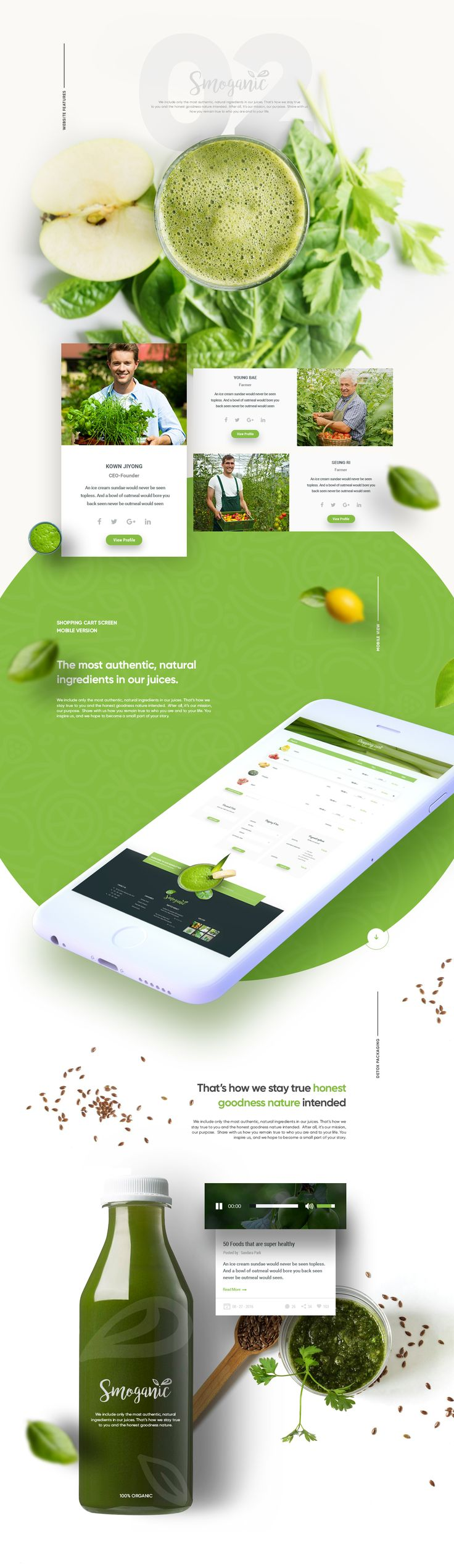 Smoganic website design, they provide most authentic, natural ingredients in their juices.