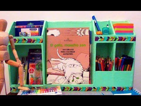 Organizador de escritorio de cartón - DIY - YouTube