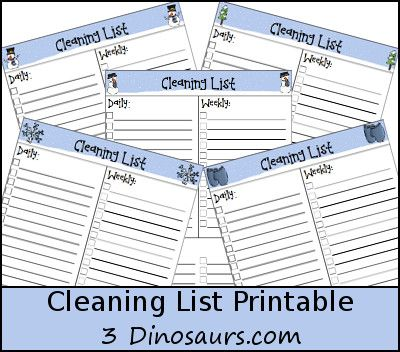 Monthly Goals January 2016 Plus Monthly Cleaning Chart Printable - 3Dinosaurs.com