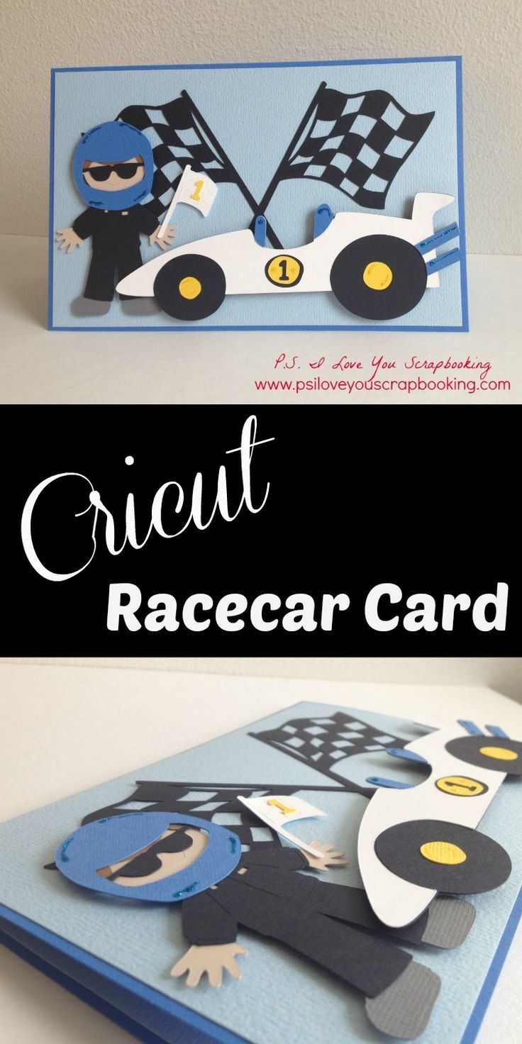 Cricut Racecar and Driver Card - I used the Cricut Explore to design this card.  The cut file is included  for free in the post.  If you have the Cricut Expressions, you can also use it.  The cartridges used are Disney Pixar Cars, Everyday Paper Dolls, and Beep Beep Cricut Cartridges.  This is actually a baby shower card!  I love the racecar!  It would be great for a little boys birthday too.