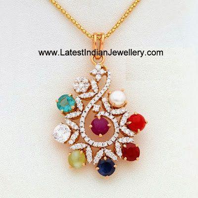 Diamond Navaratna Pendants