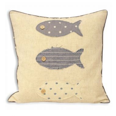 Seascape Cream Fish Detail Cushion - £14 | brandinteriors.co.uk