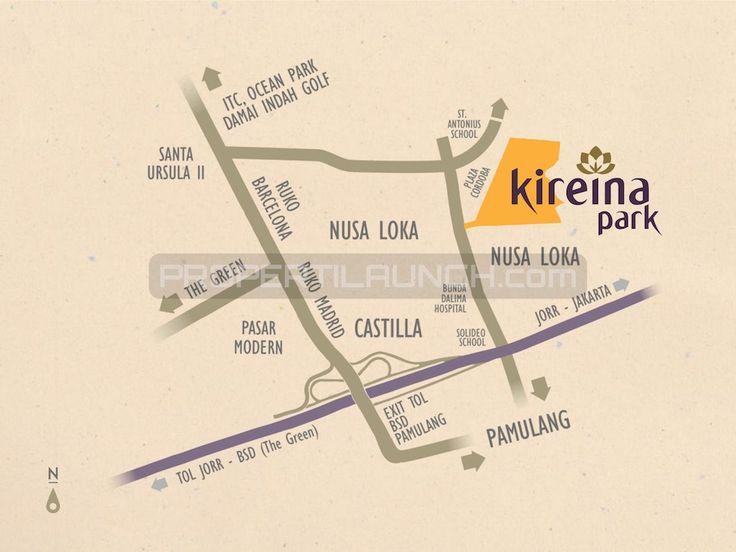 Peta lokasi cluster Kireina Park BSD City. #kireinaparkbsd