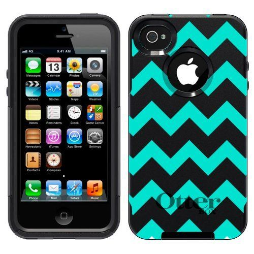 Otterbox Commuter Series Chevron Turquoise And White Pattern Hybrid Case For IPhone 4 4S By