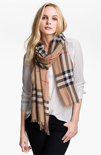 Burberry Giant Check Print Wool & Silk Scarf at Nordstrom.com. A gauzy, lightweight scarf is elegantly patterned with an oversized check print—breezy, versatile and stylish.