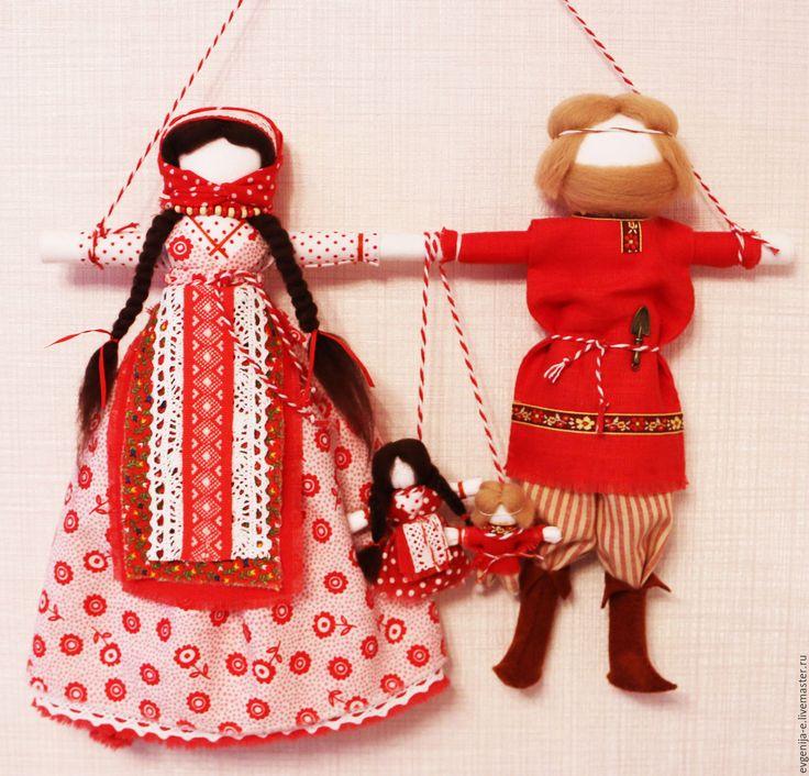 """Купить """"Неразлучники"""" свадебная кукла-оберег - ярко-красный, свадебный подарок, оберег для семьи, неразлучники"""