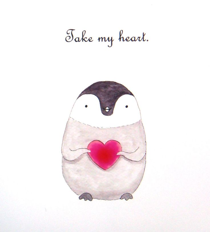 Penguin Love Illustration Print Cute Penguin Drawing Black & White Soft Grey Gray Red Heart Modern Urban Home Wall Decor Nursery Art 4x6 5x7 by mikaart on Etsy https://www.etsy.com/listing/122050283/penguin-love-illustration-print-cute