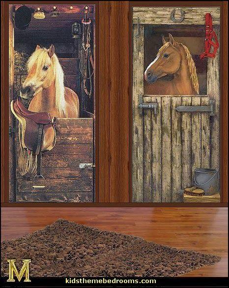 horse themed girls bedroom | horse wall murals-horse wall mural decals-horse theme bedrooms