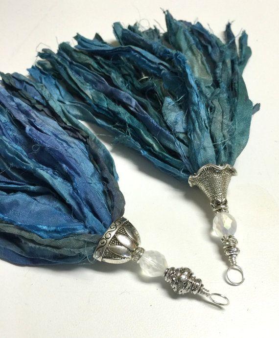 Handcrafted Tassel Pendant Blue Sari Silk by ClayDesignsbyglee