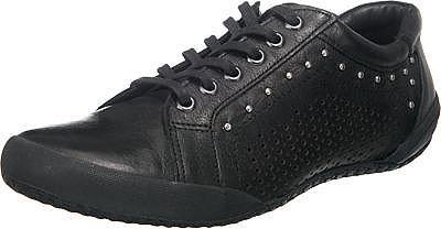 Die Andrea Conti Sneakers sind aus weichem Glattleder gefertigt und somit besonders strapazierfähig. Die Perforierungen auf beiden Seiten sorgen dafür, dass der Fuß atmen kann und ein angenehmes Fußklima beibehalten wird.   - Decksohle stark gepolstert  - TR-Laufsohle bietet hervorragende Tritt-Eigenschaften - Verschluss: Schnürverschluss - Absatzart: Flach   Obermaterial: Leder Futter: Leder D...