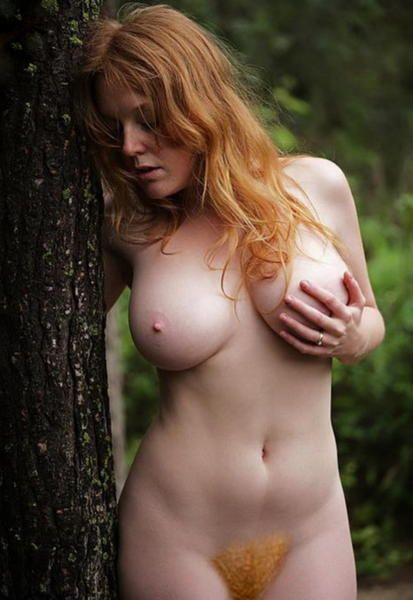 Redhair bush big tits