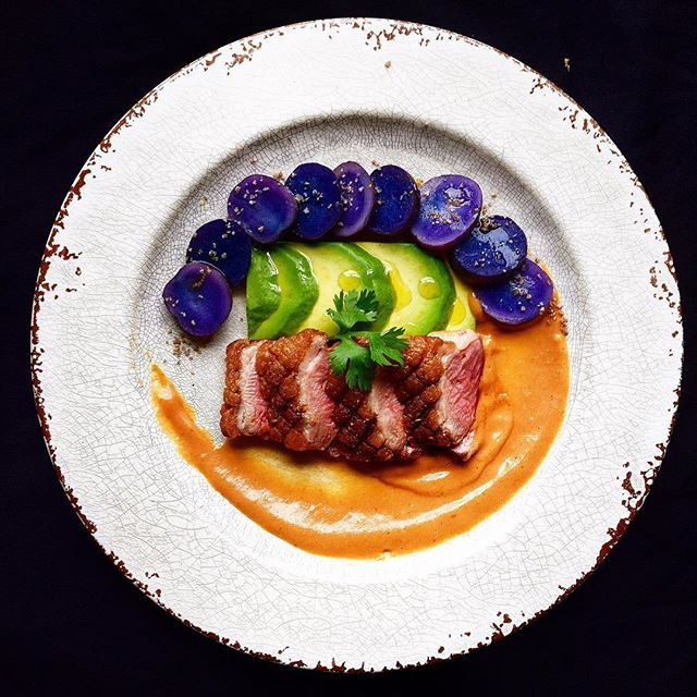 #tbt #throwbackthursday  Crispy duck • Guava Mole • Purple potatoes with smoked salt • Avocado