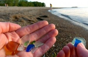Presque Isle, Erie, PA  have jars of this stuff, I love love love walking on beach 1 finding the glass...im always bottoms up