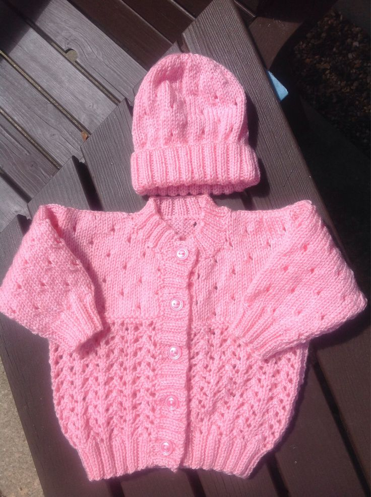 A personal favourite from my Etsy shop https://www.etsy.com/uk/listing/549382689/baby-girl-pink-cardigan-with-matching #babygirl #handknittedbaby #handknittedclothing #6-12months #babycardigan