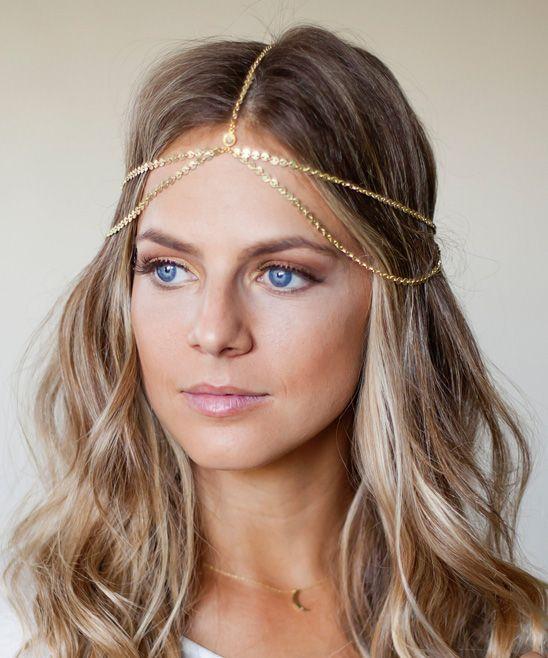 Gold Drape Head Chain With Swarovski Crystals