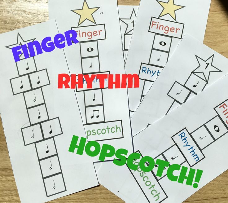 Rhythm Teaching Games This is a great game that will help your students with learning finger numbers as well as understanding basic rhythms. It is a fun exciting game that your students will be asking for over and over again. As you can see students hop their fingers across the hopscotch board, each note they land on they must keep their finger their for the value of the note. For example if they land on a half note they keep their finger on that half note and count to 2. Each hop sco...