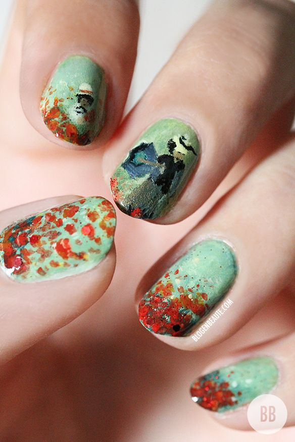 Nail Art Les Coquelicots | Claude Monet.  Kay seriously anyone with this much talent is not even human.  I couldn't do this on paper nonetheless NAILS.