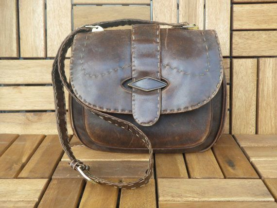 Vintage 1980's Dark Brown Leather Lady's Bag Hand Bag Shoulder Strap Purse